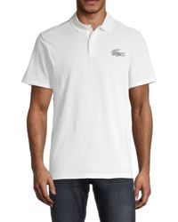 Lacoste Men's Ribbed-collar Regular-fit Polo - White - Size 7 (xxl)