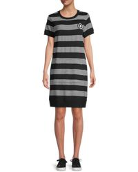 Karl Lagerfeld Striped T-shirt Dress - Black