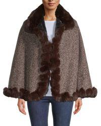 BCBGMAXAZRIA Faux Fur-trimmed Poncho - Brown