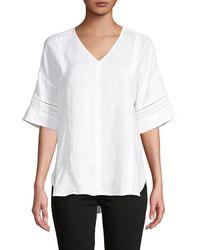 Saks Fifth Avenue V-neck Linen Top - White