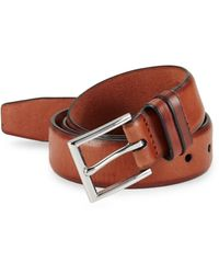 Cole Haan Men's Feathered Edge Leather Belt - British Tan - Size 42 - Multicolour