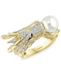 Effy Women's 14k Yellow Gold, White Round Freshwater Pearl, White & Brown Diamond Dragon Ring/size 7 - Size 7