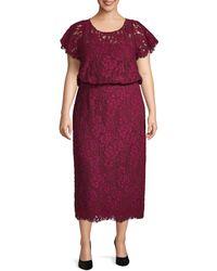 JS Collections Blouson Lace Midi Dress - Purple