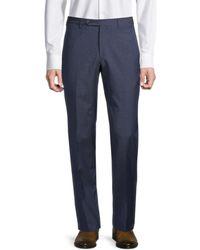 Zanella Men's Paul Virgin Wool Trousers - Navy - Size 35 - Blue