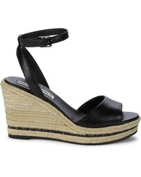 Karl Lagerfeld Carin Leather Espadrille Wedge Sandals - Black