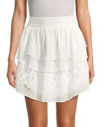 IRO Women's Mugue Lace-inset Tiered Skirt - White - Size 36 (4)