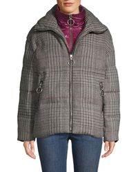 The Very Warm Glen Plaid Wool-blend Down-filled Jacket - Gray