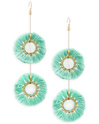 Panacea Mint Fringe Drusy Drop Earrings - Multicolour
