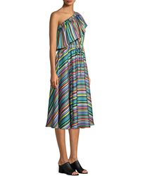 MILLY Rainbow Stripe One-shoulder Dress - Multicolour