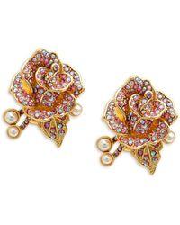 Heidi Daus Rose Goldtone & Crystal Flower Earrings - Multicolor
