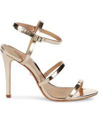 Schutz Women's Ilara Patent Leather Heeled Sandals - Gold - Size 7 - Metallic