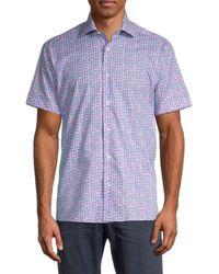 Bertigo Printed Cotton Shirt - Purple
