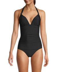 Calvin Klein - Women's Lqd Shirred Halter One-piece Swimsuit - Black - Size 14 - Lyst
