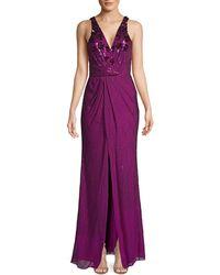 Parker Black Floral Appliqué Embellished Gown - Purple
