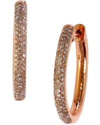 Effy - Diamond And 14k Rose Gold Hoop Earrings - Lyst