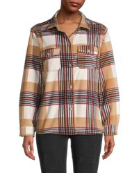 C&C California Women's Plaid Long-sleeve Shirt - Tan Multicolor - Size Xl - Brown