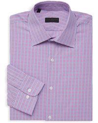 Ike Behar Chequered Long-sleeve Dress Shirt - Purple