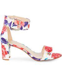 Nine West Floral Stack Heel Sandals - White