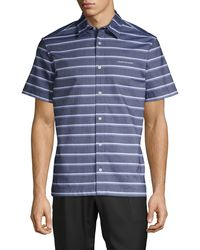 Calvin Klein California Stripe Chambray Short-sleeve Shirt - Blue