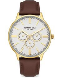 Kenneth Cole Dress Sport Goldtone Stainless Steel & Leather-strap Watch - Black