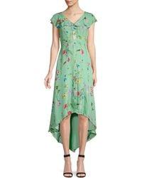 Parker Raven Floral Ruffle Front Dress - Green