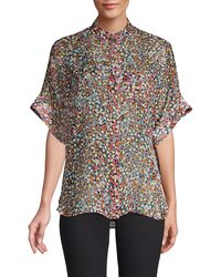 Equipment Alvia Short-sleeve Silk Blouse - Black