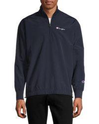 Champion Men's Partial Zip Jacket - Black - Size S