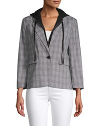 Kenneth Cole Layered Checker Blazer - Grey
