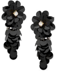 Ava & Aiden Flower Sequin Drop Earrings - Black