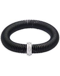 Alor Stainless Steel, 18k White Gold & Diamond Bracelet - Black