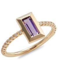 Carelle Rainbow Baguette 14k Yellow Gold, Amethyst & Diamond Ring - Metallic