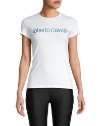 Roberto Cavalli Women's Donna Sparkle Logo T-shirt - Bianco - Size Xs - White