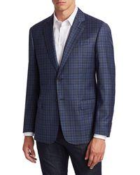 Giorgio Armani Men's Super 130 Virgin Wool Sport Coat - Fancy Blue - Size 54 (44) L