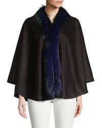 Sofia Cashmere Dyed Fox Fur Trim Cashmere Poncho - Black