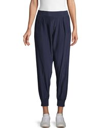 ATM Front-pleated Silk Trousers - Blue