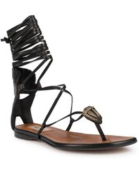 Valentino Tribe Gladiator Mask Leather Lace-up Thong Sandals - Black