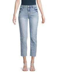 Kensie Women's Distressed Slim Straight Jeans - Marina - Size 30 (10) - Blue