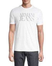 Armani Jeans Logo Cotton Tee - White