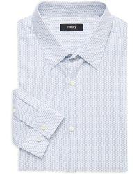 Theory Men's Regular-fit Cedrick Geometric-print Dress Shirt - Azure - Size 17 L - Blue