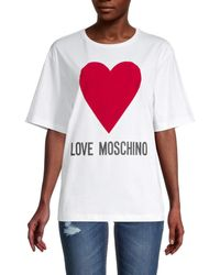 Love Moschino Women's Heart Logo Cotton T-shirt - Optical White - Size 40 (6)