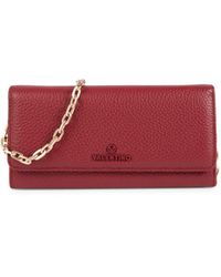 Valentino By Mario Valentino Jupiter Texture Leather Chain Wallet - Red