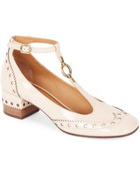 Chloé Perry Patent Leather Mary Jane Court Shoes - Natural