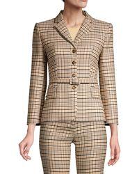 Michael Kors Belted Plaid Stretch Wool Blazer - Black
