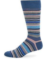 Saks Fifth Avenue Japse Multi-striped Crew Socks - Black