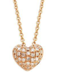 Effy Women's 14k Rose Gold & Diamond Pendant Necklace - Metallic
