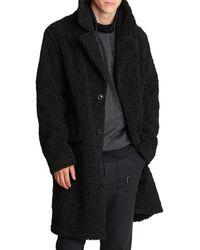 Karl Lagerfeld Water Resistant Sherpa Coat - Black