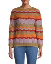 M Missoni - Women's Metallic Patterned Sweater - Size 42 (6) - Lyst