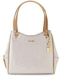 Calvin Klein Logo Faux Leather Shoulder Bag - Multicolour