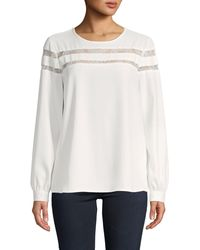 Calvin Klein Lace Long-sleeve Top - White