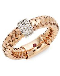 Roberto Coin - 18k Rose Gold Diamond Rope Ring - Lyst